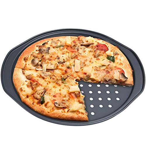 Pizzaset, BESTZY Pizzableche & Pizzaschneider, Pizzablech rund (Ø 36 cm) gelocht,mit Antihaft-Wirkung, Backblech für tiefgekühlte & selbstgemachte Pizza, rund & antihaftbeschichtet