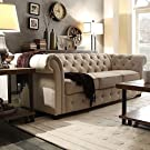 SIGNAL HILLS Knightsbridge Beige Linen Tufted Scroll Arm Chesterfield Sofa #3