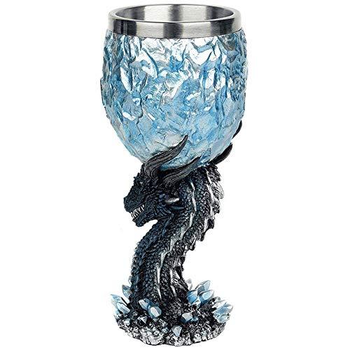 LINJJ Dragon Goblet Copa de Vino Jarra de Cerveza Taza de café Material de Resina de Acero Inoxidable fanático del Juego-UNA