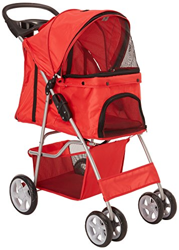 Paws & Pals City Walk N Stride 4 Wheeler Pet Stroller for Dogs and Cats, Scarlet Red