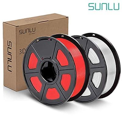 SUNLU PLA Plus Filament 1.75mm 3D Printer 3D Pens 2KG PLA+ Filament +/- 0.02 mm, White+Red