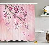 AdaCrazy Illustration des Frühlings-Baumasts mit Blüten Sun strahlt auf unscharfem Hintergr&, Haus-Dekor-Duschvorhang-Satz, Badezimmerzubehör, rosa Fuchsie