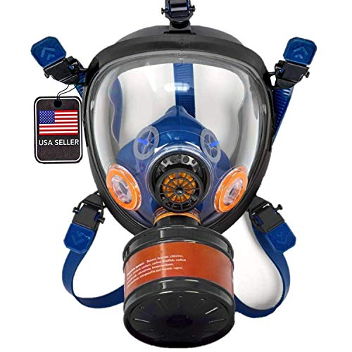 ST-100X Survival & Tactical Full Face Respirator with P-D-1 Single 40mm Replaceable Carbon Activated Charcoal Filter for Organic Vapors, Chemicals, & Particulates