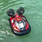 ZDYHBFE Barco de control remoto de 2,4 GHz, simulación de alta velocidad, lancha rápida, barco RC, aerodeslizador eléctrico, remo anfibio, barco de juguete acuático al aire libre, barco de regalo para