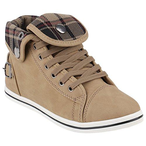stiefelparadies Damen Sneakers Sneaker High Strass Zipper Schnallen Turn Spitze Sport Schnürer Schuhe 142035 Khaki Karo 38 Flandell