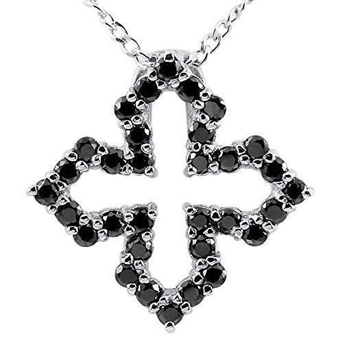 [アトラス] Atrus ネックレス メンズ sv925 スターリングシルバー ブラックダイヤモンド オープンクロス ペンダント 十字架 チェーン