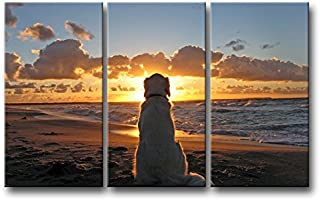 3 Piece Wall Art Painting Dog Watch in Sunset Pictures Prints On Canvas Animal The Picture Decor Oil for Home Modern Decoration Print