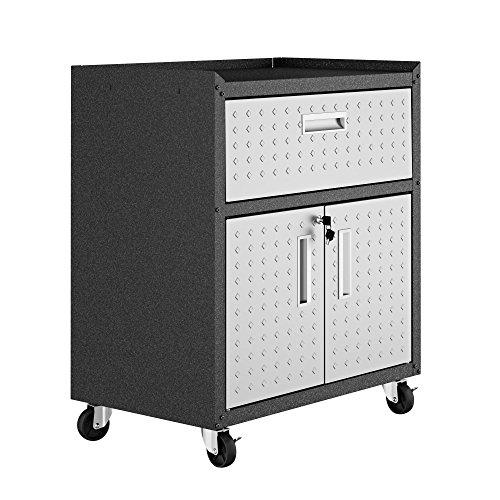 Manhattan Comfort Fortress Rolling Cabinet Garage Storage, Black/Gray