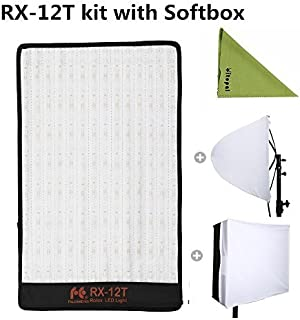 Falcon Eyes RX-12T Kit 280 Lights Lightweight Roll-Flex LED Light Waterproof Lamp with Softbox Diffuser (RX-12T Kit)