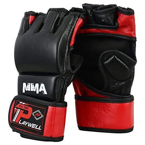 Playwell MMA Cuero Elite Fight Lucha Guantes - Negro/Rojo - L-XL