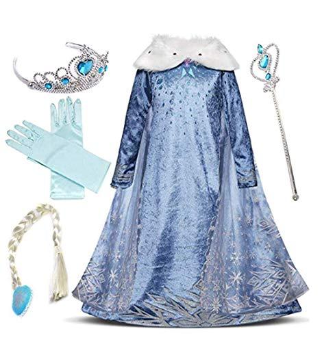 IWFREE Disfraz de Princesa Elsa para niña Capa Disfraces Vestido Accesorios para Niñas- Reino de Hielo Vestido Elsa Carnaval,Cosplay,Navidad,Fiesta de Cumpleaños