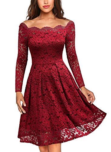 MIUSOL Vintage Encaje Floral Coctel Vestido Corta para Mujer Rojo X-Large