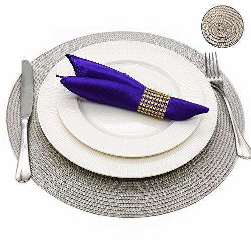 INTERLINK ELECTRONICS Tovagliette jacquard intrecciata rotondo antiscivolo tovagliette tavolo pranzo stuoie nuovo (grigio, 1 pcs)