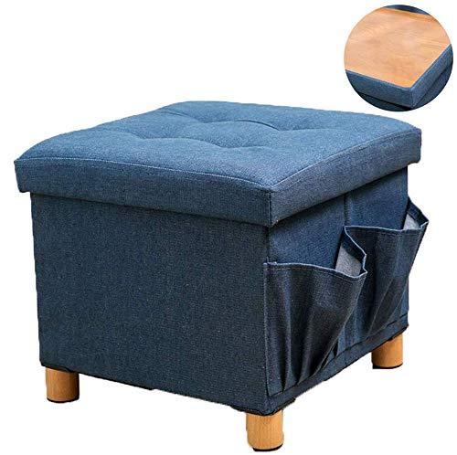 ZAIPP Zijvakken, kubus voetensteun stoel stoel salontafel met houten voeten, ruimtebesparend, dubbele zijkanten deksel, opvouwbare opslag Ottomaans