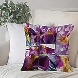 Creativo Decorativo Quadrato Federa Cuscino,Orchidee di fiori di iris rustici e in fiore su legno rustico bellezza floreal,cuscini di per salotto divano camera da letto con cerniera invisibile,45x45cm