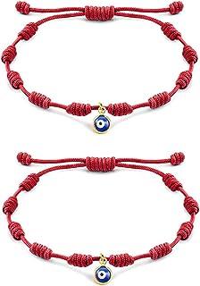 MANVEN Evil Eye Bracelet Kabbalah Red String Mal de Ojo Protection Handmade Wish Bracelets for Women Men Kids Friends Family