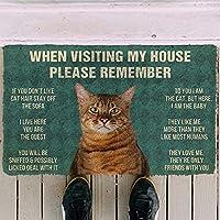 ドアマットカーペット印刷エリアマットハウスルールドアマット3D覚えておいてくださいおもちゃ屋猫ハウスルールカスタムドアマット子犬マットリビングルームマット屋内屋外ドアマットクリスマスハロウィーン