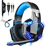 Auriculares Gaming, Cascos Gaming PS4, con Micrófono Control de Volumen LED Luz...