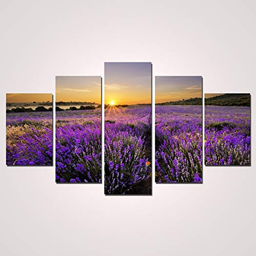 5 Canvas paintings Pictures HD Printed Living Room Wall Romantic Lavender Flower Home Decor Art Painting Modern Canvas Frameless
