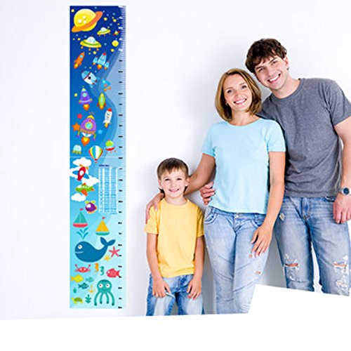 WANGLINING Spaceship Rocket Growth Height Chart Wall Stickers| Removable PVC Decor | Planets With Stars Wall Decals For Kids Room And Nursery Room