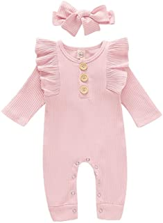 Weixinbuy Newborn Baby Girls Ruffled-Sleeve Crewneck Plain Cotton Romper Bodysuit Clothes with Headband