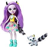 Enchantimals Mini-poupée Larissa Lémurien et Figurine Animale Ringlet, aux cheveux violets avec jupe à motifs en tissu, jouet enfant, GFN44