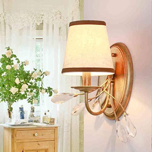 HYY-YY Simple pared American Village moderno retro del cristalino del hierro del arte de la lámpara de pared de tela, Escalera Terraza de la lámpara del pasillo de la lámpara de estar Luz Comedor lámp