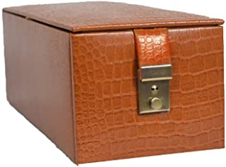 Stones Bridge Genuine Leather Exclusive Locker Jewellery Storage Box,Vanity Box for Women (Tan)