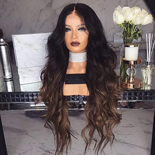 Perruque Femme 60cm Naturelle Brésilien Lady Long Curly Wigs Ombre Brown Wig Natural big Wavy Synthetic Hair Halloween Costume Party Wigs