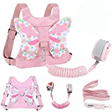 Toddlers Leash + Anti Lost Wrist Link Child Kids Safety Harness Kids Walking Wristband Assistant Strap Belt for Girl Pink The Best Christmas Gift(Butterfly)