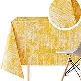 Moderno Mantel de Vinilo con diseño Fresco en Amarillo Soleado - Fácil de limpiar, Rectangular 200 x 140 cm, Impermeable Lavable, de PVC Mantel con textura rugosa
