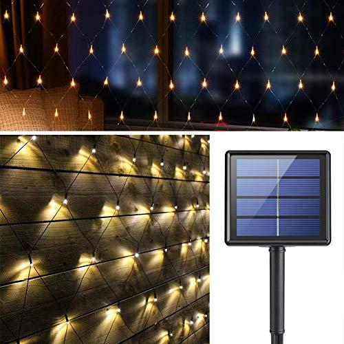 Solar LED Lichternetz, 200 LEDs Sterne Lichterkette, 3M*2M Outdoor Wasserfest Lichtervorhang, 8 Modi Aut Ein/Aus Deko Leuchte für Weihnachten Innen Außen Garten Party Hochzeit Schlafzimmer (Warmweiß)