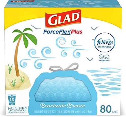 Glad ForceFlexPlus Tall Kitchen Drawstring Trash Bags 13 Gallon Trash Bag Febreze Beachside product image