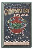 Lantern Press Chesapeake Bay, Virginia, Blue Crab Vintage Sign 46110 (10x15 Wood Wall Sign, Wall Decor Ready to Hang)