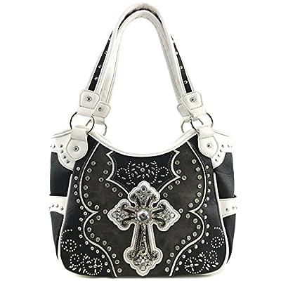 Justin West Floral Studs Laser Cut Western Rhinestone Cross Handbag Purse Conceal Carry (Black Purse Only)