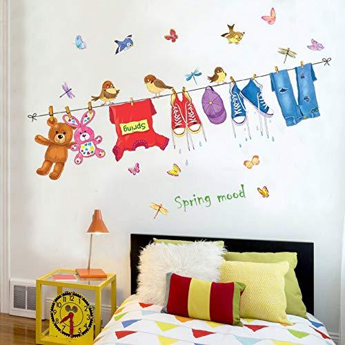 Muurstickers, kleding, muurstickers, warme slaapkamer, balkon, kinderkamer, kleuterschool, decoratieve stickers, verwijderbaar