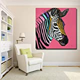 N / A Colorful Zebra Mural Pink Background Animal Picture Home Decoration Art Canvas Print Painting Frameless 30x30CM