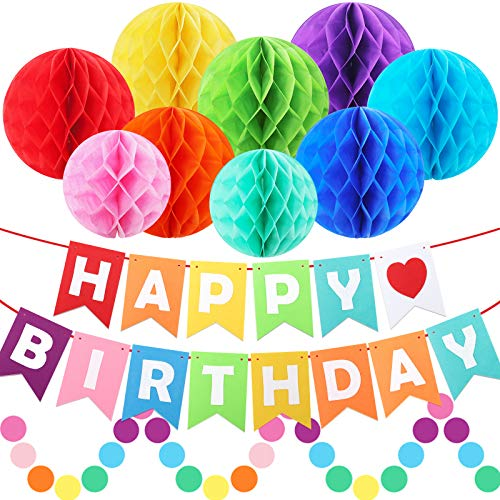 Birthday Decorations, Rainbow Birthday Party Poms Decorations for Women and Girls, Include Happy Birthday Banner, Colorful Paper Honeycomb Poms, Circle Dots Hanging Decorations