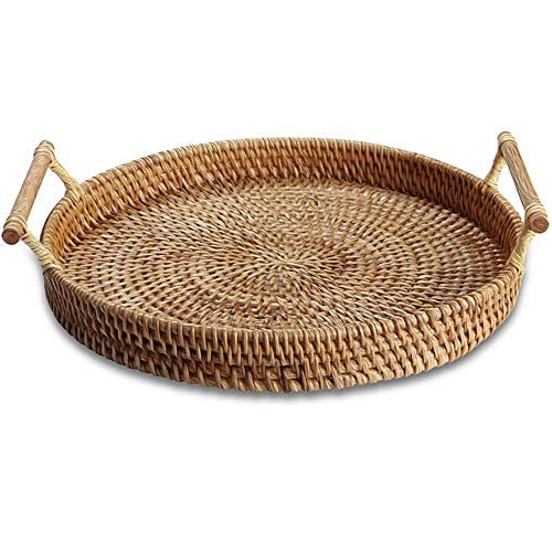 Rattan Basket Serving Tray with Handles Round Rattan Ottoman Tray Woven Bread Basket Rattan Coffee Table Decorative Snack, Bamboo, Tea, Bread, Fruit Baskets for Kitchen Counter (12.5', 1pc)