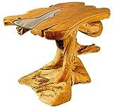 WINDALF Hoher Küchen-Teaktisch LEONWÄ 97 cm Rustikaler Landhausdesign Rivertable Bohemia Teak-Holztisch Handarbeit aus Wurzelholz