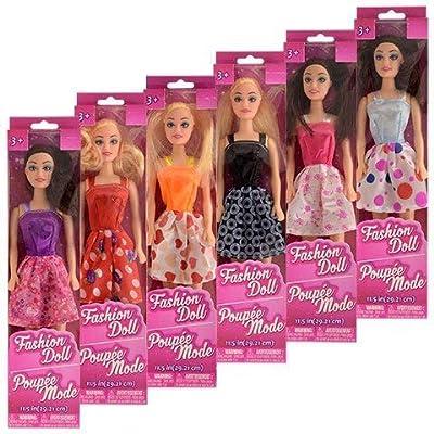 "JGT Girls Kids Toddlers Child Indoor Play Dress Up (6) Fashion Dolls 11"" American Party Favors Supply Gifts Stocking Stuffers & Bonus (1) PKT of Savvi Skin Glitter Tattoos - Bundle of 7 Caucasian"