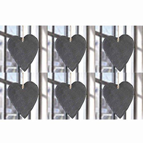 Annastore 6 x Herzen aus Schiefer zum Hängen H 14 cm - Schieferherzen Gastgeschenk Hochzeit – Tischkarte Hochzeit – Memotafel Landhausstil - Steinherzen