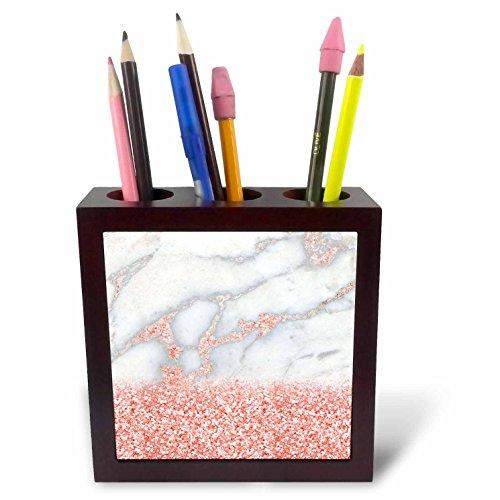 3dRose Ph_265472_1 penhouder voor tegels, roségoud, glitter, marmer, 12,7 cm