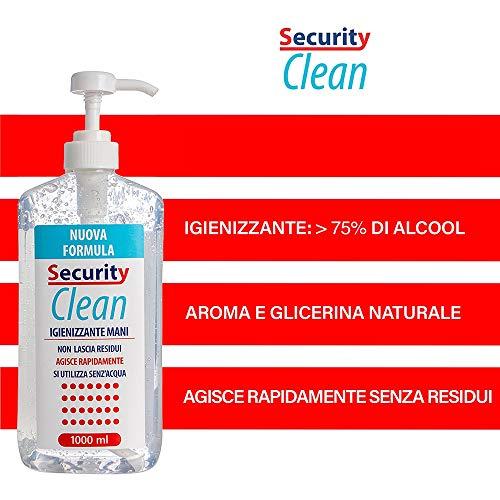 Security Clean Gel Igienizzante Mani 1 Litro Con 75% Alcol Completo di Dosatore, Perfetto Per Uso Personale, Scuola, Ufficio e Negozio(1000 ML Plus)
