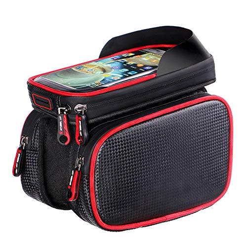 LTSWEET Bolsas para el Manillar Impermeable Universal Bolsa Bici Soporte para Telefono Móvil Pantalla Táctil Bolsa Táctil de Tubo Superior Delantero Bolsas de Bicicleta,Rojo