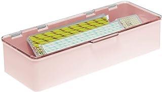 mDesign boite de rangement en plastique sans BPA – boite empilable compacte avec couvercle pour la cuisine, la chambre d'e...