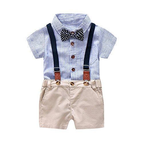 MRULIC Infant Baby Jungen Gentleman Strampler Hosenträger Strap Shorts Outfits Sets Sommer Kurzarm Shirt und Hose(A1-Blau,65-70CM)