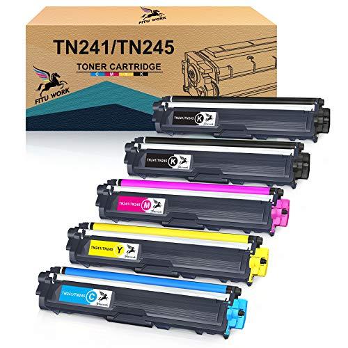 FITU WORK Cartouche de Toner Compatible Remplacement pour Brother TN241 TN245 pour DCP-9020CDW DCP-9015CDW HL-3140CW HL-3150CDW HL-3170CDW MFC-9140CDN MFC-9130CW MFC-9330CDW MFC-9340CDW(5 Paquets)