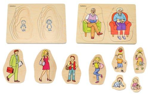 Beleduc - 17052 - Puzzle À Superposition en Bois - Grand-mère & Grand-père - 40 Pièces
