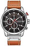Men Sport Chronograph Quartz Watch Brown Leather Strap Date 30M Waterproof Military Male Wrist Watch (Silver & Black)
